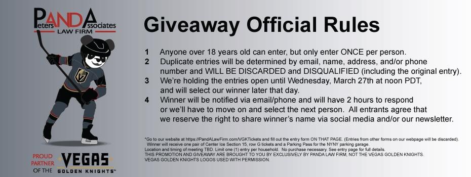 VGK Giveaway Rules